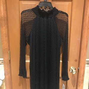Sexy high neck dress with sheer sleeves/shoulders